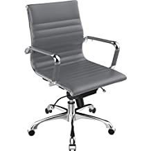 Poly and Bark Ribbed Mid Back Office Chair in Vegan Leather, Grey