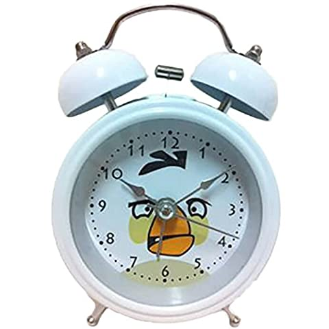 8815 Extremly Silent Children Cartoon Twin Bell Metal Alarm Clock- Angry Birds Style - Matilda - White