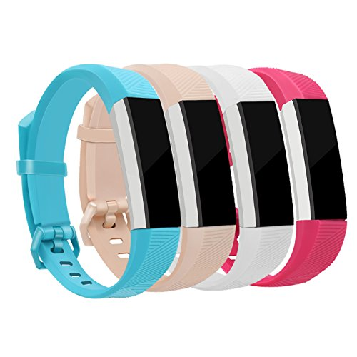 Fitbit Alta Bands and Fitbit Alta HR Bands for Women Small Wristband Bands Newest Sport Replacement Wristbands for Men with Secure Metal Buckle for Kids Girls and Boys Set 4 Pack Fitbit Alta Band