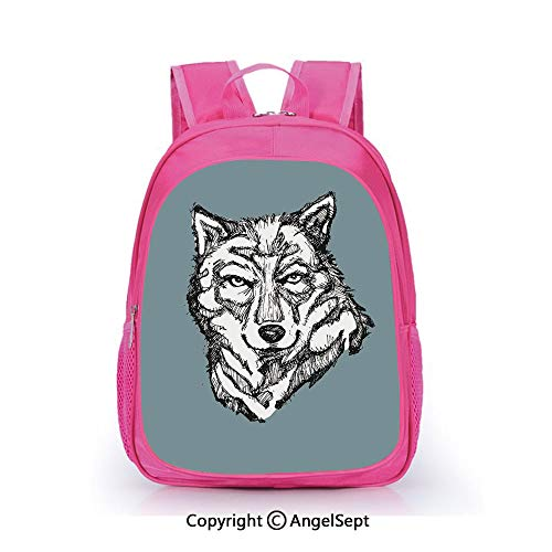 Casual Backpack Waterproof For Kindergarten Students,Wild Timber Wolf Face Portrait Sketch Animal Canine Creature Graphic Art Black White Slate Blue,15.7inch,Backpack For Kids Water Resistance