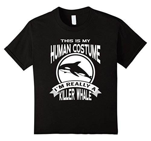 Killer Whale Costume Child (Kids This Is My Human Costume I'm Really a Killer Whale Halloween 8 Black)
