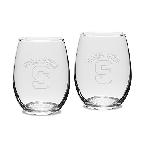 (NCAA Syracuse Orange Adult Set of 2 - 15 oz Stemless Wine Glass Deep Etched Engraved, One Size, Clear)