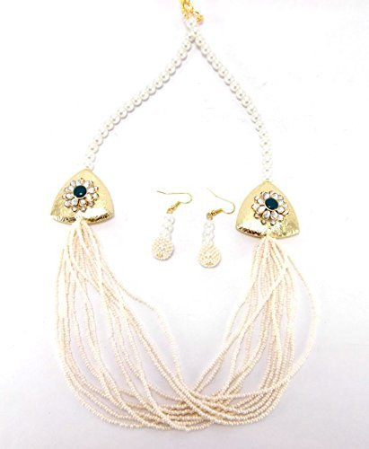 9blings Diwali collection pearl multistrand necklace earrings set p100 by Aria