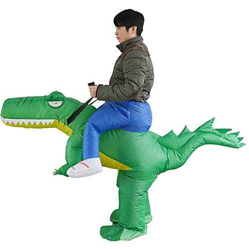 HHARTS Adult Ride on Crocodile Inflatable Costume Blow up Costume for Halloween Cosplay Party Christmas Green -