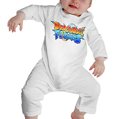 Unisex Baby Crew Neck Long Sleeve Pure Color Romper Dra_gon Ball Fusions Jumpsuits Sleepwear White 46