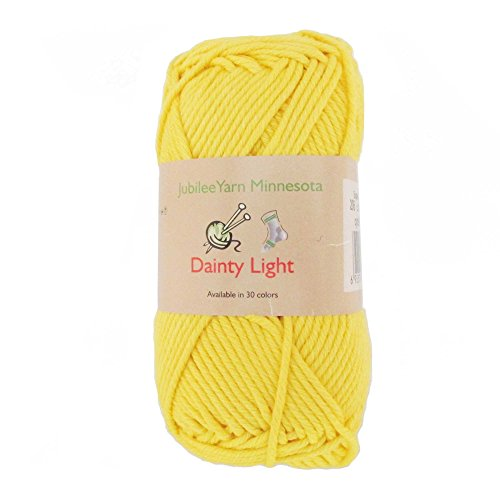 JubileeYarn Medium Gauge Worsted Weight Yarn - Dainty Light - 2 Skeins - 100% Cotton - Super Sunshine - Color 206 - Shine Worsted Yarn