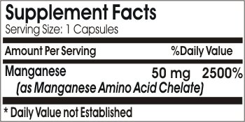 Chelated Manganese 50mg ~ 200 Capsules - No Additives ~ Naturetition Supplements