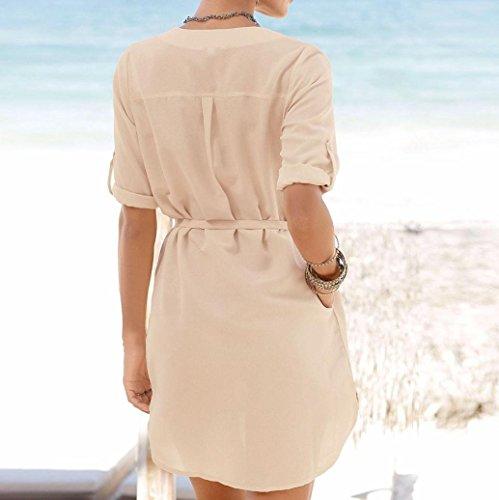 de mujer playa en playa dobladillo V camisetas Vestido V en irregular de de de cuello mujer Vestido con de forma bolsillo de Beige gasa mujer de Vestido suelta con irregular Zha Ba V para con Hei cuello en zZzSxq