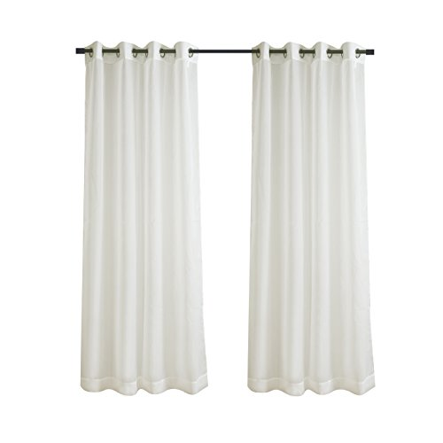 (Aquazolax Sheer Grommet Curtains Solid Voile Panels/Draperies for Sliding/French Doors, 2 Pieces, 54