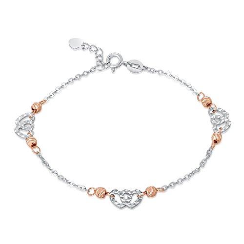 14carats 2tons rose or blanc double coeur avec coupe diamant bracelet chaîne Longueur de 17,5cm/16,5cm, femmes bijoux anniversaire cadeau de mariage