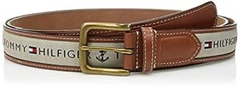 Tommy Hilfiger Men's Ribbon Inlay Belt (Regular Sizes & Big and Tall),Khaki,30