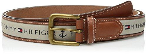 (Tommy Hilfiger Men's Ribbon Inlay Belt - Ribbon Fabric Design with Single Prong Buckle, Khaki, 56)