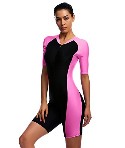 Swimsuit for Women New Fashion Design One Piece Short-sleeve surfing suit Sun Protection Rose - Outfit Swimming For Women