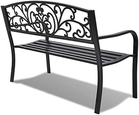 SOULONG Banco de jardín de 2 plazas, asiento de metal para muebles de exterior jardín patio, hierro fundido negro 127 x 60 x 85 cm: Amazon.es: Hogar