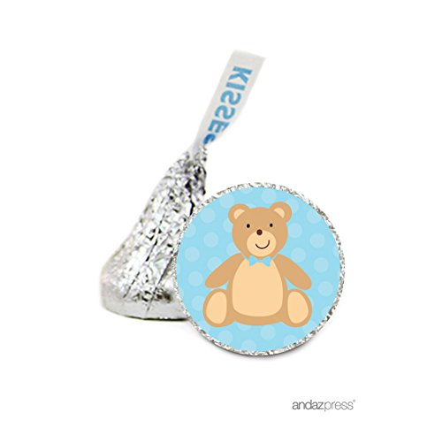 Andaz Press Chocolate Drop Labels Stickers Single, Baby Shower, Boy Teddybear, 216-Pack, For Hershey's Kisses Party Favors, Gifts, Decorations