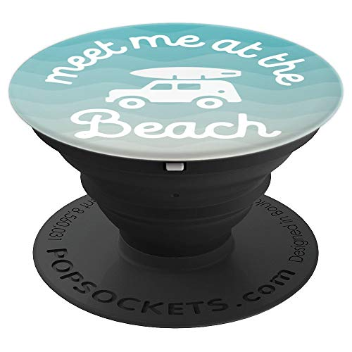 Meet Me At The Beach Vintage Retro Surfboard Ocean - PopSockets Grip and Stand for Phones and Tablets