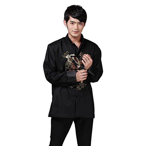Chinese Mens Jacket Pants (BOZEVON Chinese Style Tai Chi Shirt Kung Fu Tops Silk Tang Suit Men Costume Jacket Stand-Collar Long Sleeve Dragon Pattern (Black))
