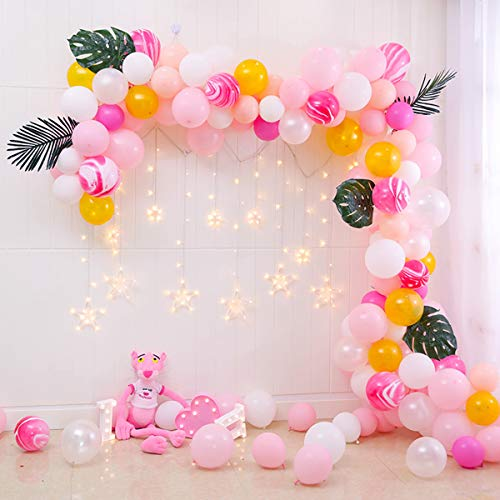 Wrappen Pink Marble Balloon Garland Arch Kit-121 Piece Organic Balloon Party Set - White, Pink, Hot-Pink, Gold, Macaron, DIY, Wedding, Baby Girl Shower, Birthday, & Graduation Party Decorations ()