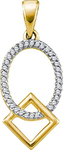 (Aienid 10Kt Yellow Gold 0.10ct Diamond Pendant Necklace For Ladies )