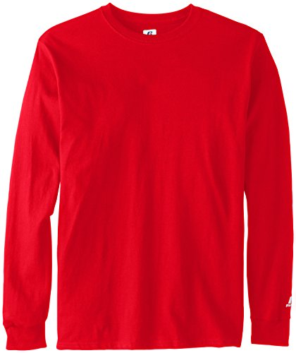 Russell Athletic Men's Basic Cotton Long Sleeve Tee, True Red, Small