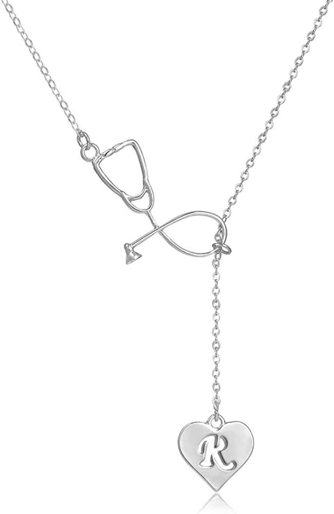 Dcfywl731 Rose Gold Silver Stethoscope Lariat Necklace,Heart and Stethoscope Pendant for Doctor Medical Student Gift,The Doctor Nurse Jewelry