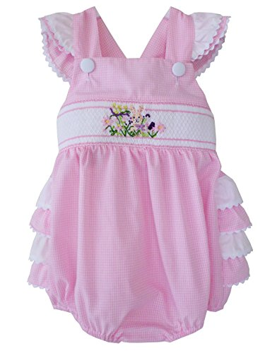 Easter Bunny Bubble - Carouselwear Easter Baby Girls Pink Hand Smocked Summer Bubble Romper