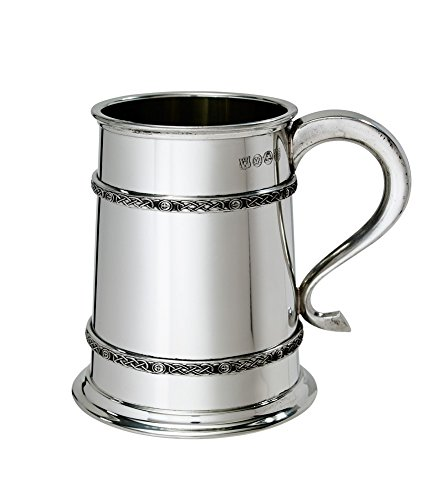 Bright Pewter Tankard (Wentworth Pewter 1 pint Double Celtic Bands Tankard)