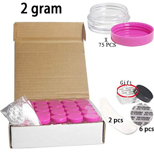 Yyzko Small capacity 75 pieces empty Plastic Cosmetic Container with transparent bottom circular 2 Gram size rose-red lid Pot Jars Container for Make Up, Eye Shadow, Nails, Powder, Paint - BPA free ()