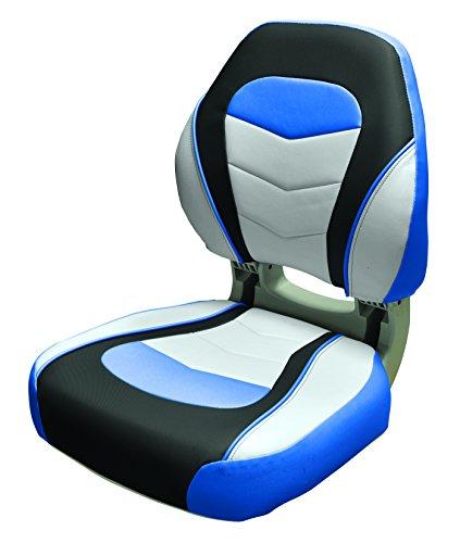 Wise Sport Folding Boat Seat, Ocean Blue/Kixx Charcoal/Sky Grey