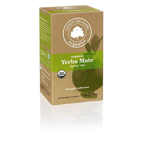 Hands on Herbs Organics Yerba Mate Organic Tea | Focus and Energy Without the Jitters of Coffee | Metabolism Booster | Potent in Antioxidants and Amino Acids - 25 individual tea bags 2 grams (1.8 oz)