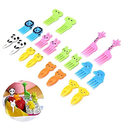 ZSJZHB Cute Mini Lunch Sign, Children's Fruit Fork, Creative Plastic Lunch Decoration Sign, Cute Animal Food Fruit Picking Fork, Decorating Cake