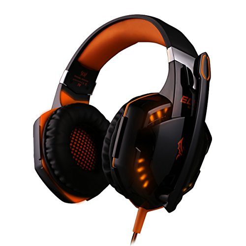 ECOOPRO 3.5mm Over Ear Stereo LED Gaming Headset Headphones Earphone with Microphone, in-line Wheel Control for Volume and Mic Perfect for PC Games and Listening Music Orange