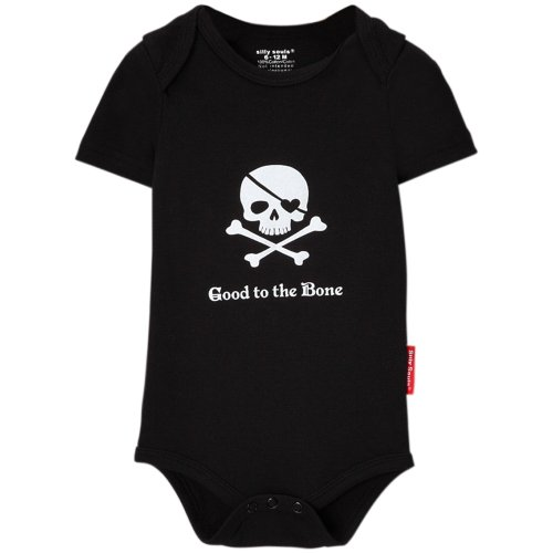 (Silly Souls Skull and Cross Bones Pirate Booty Unisex Cool Baby Onesie Black)