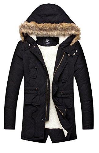 NITAGUT Men's Hooded Faux Fur Lined Warm Coats Outwear Winter Jackets Black-US (Mens Winter Coat Jacket)