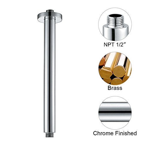SR SUN RISE ARY001 Ceiling Mount Shower Arm Round 300mm Wall Mounted Arm of Solid Brass Chrome (Round Shower Arm)