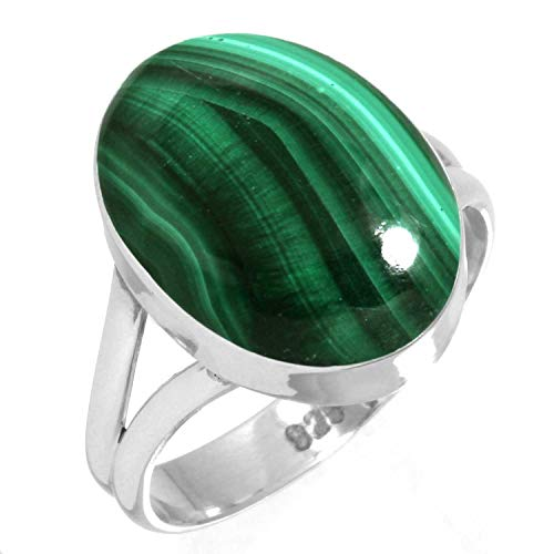 - 925 Sterling Silver Ring Natural Malachite Handmade Jewelry Size 7