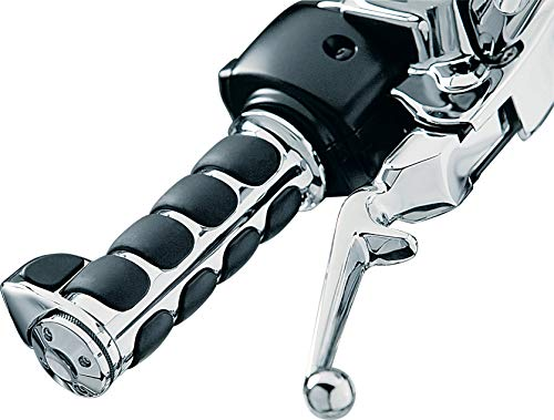 Kuryakyn 6228 Premium ISO Handlebar Grips with Standard Throttle Boss for Electronic Throttle Control: 2008-19 Harley-Davidson Motorcycles, Chrome, 1 - Grips Davidson Harley Handlebar