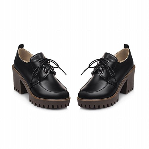 Latasa Mujeres Lace Up Oxford High Heels Negro