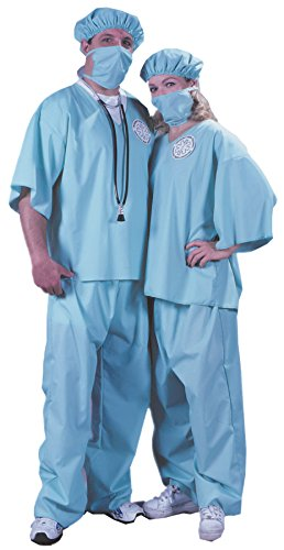 UHC Doctor Outfit Adult Scrubs Surgeon Uniform Halloween Fancy Costume, OS (Plus Size Doctor Scrubs Costumes)