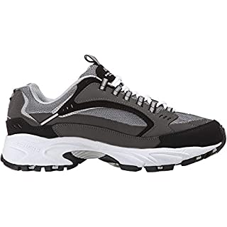 Skechers Sport Men's Stamina Nuovo Cutback Lace-Up Sneaker,Charcoal/Black,10 2E US
