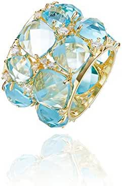 Rings,Women's Rings CDE Blue Swarovski Crystal Gold Jewelry for Women Birthstone Rings Size 7,Size 8,Size 9,Size 10,Mothers Rings,Mother's Day Gifts(Blue)