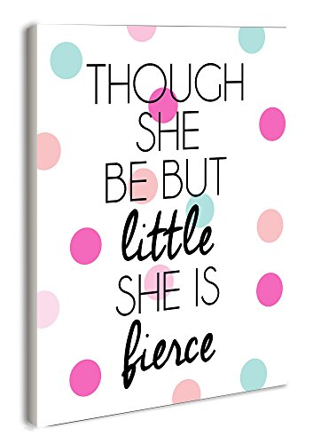 Stupell Home Décor Lulusimonstudio Though She Be But Little She Is Fierce Wall Plaque, 10 x 0.5 x 15, Proudly Made in USA