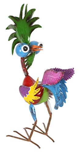 Alpine Corporation MZP390 Wild Tropical Metal Rooster Décor Statue, 19 Inch Tall, Multi-Color