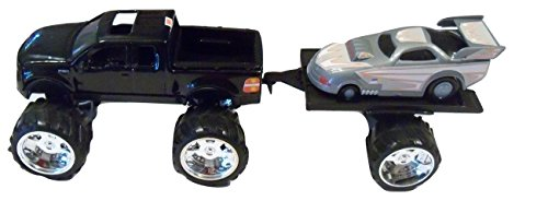 Steel Ford F-150 Monster Wheel Tow Team (Black Truck, Silver (Giant Scale Racing)
