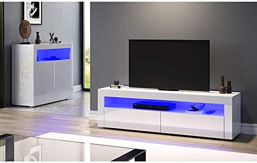 SONNI Mueble TV Blanco Brillo,Mesa para TV de Salón con LED 155x40x45cm: Amazon.es: Hogar