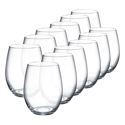 Luminarc Perfection Stemless Wine Glass (Set of 12), 15 oz, Clear - N0056