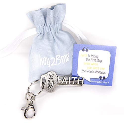 key2Bme FAITH key - Christian fish MLK keychain & inspirational quote - cool fun small gift under $10 for giving boy girl teen women Catholic first communion reconciliation confirmation ()