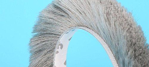(11/32 x 11/32 inch) Weather Stripping Brush, Frameless Adhesive Pile Window Weatherstrip Felt Door Seal Wardrobe Seals 16 Feet (5m) (9mm x 9mm, Gray)