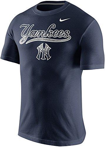 Nike Sleeve Shirt Short Mlb (NIKE New York Yankees MLB Mezzo Wordmark Logo Men's T-Shirt (Small, Navy Blue))