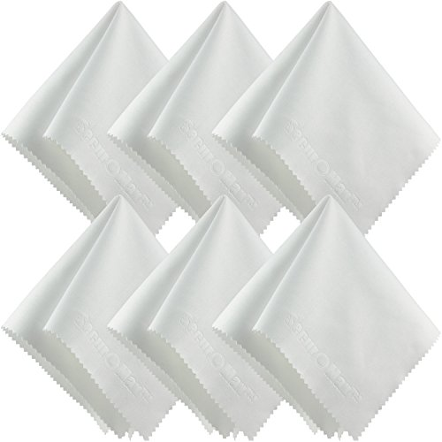 White Microfiber Cleaning Cloth 10x10 Inch (6 Pack) for Lens, Eyeglasses, Glasses, Screen, iPad iPhone, Tablet, Cell Phone - Lint-FREE Undyed Cloths to Clean Camera Lenses Tablets Touch LCD TV Screens